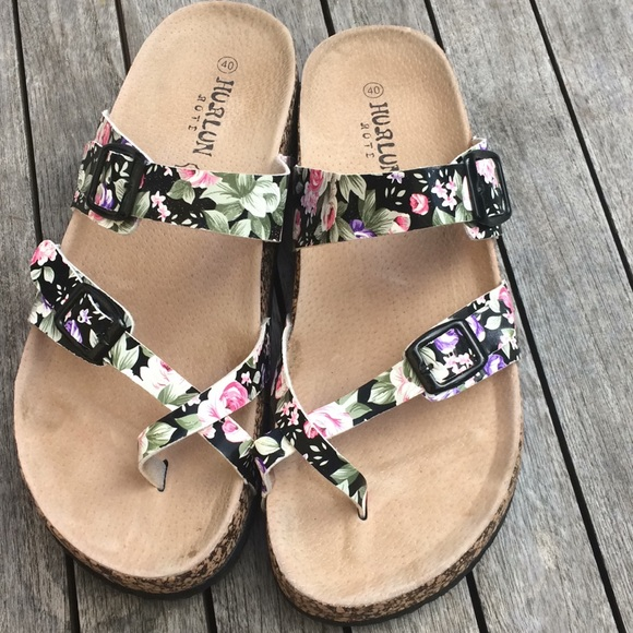 Hurlun Rote Shoes   Floral Leather And
